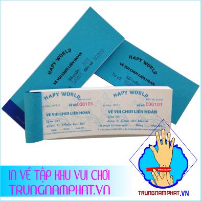 vé giấy tập trong khu vơi chơi