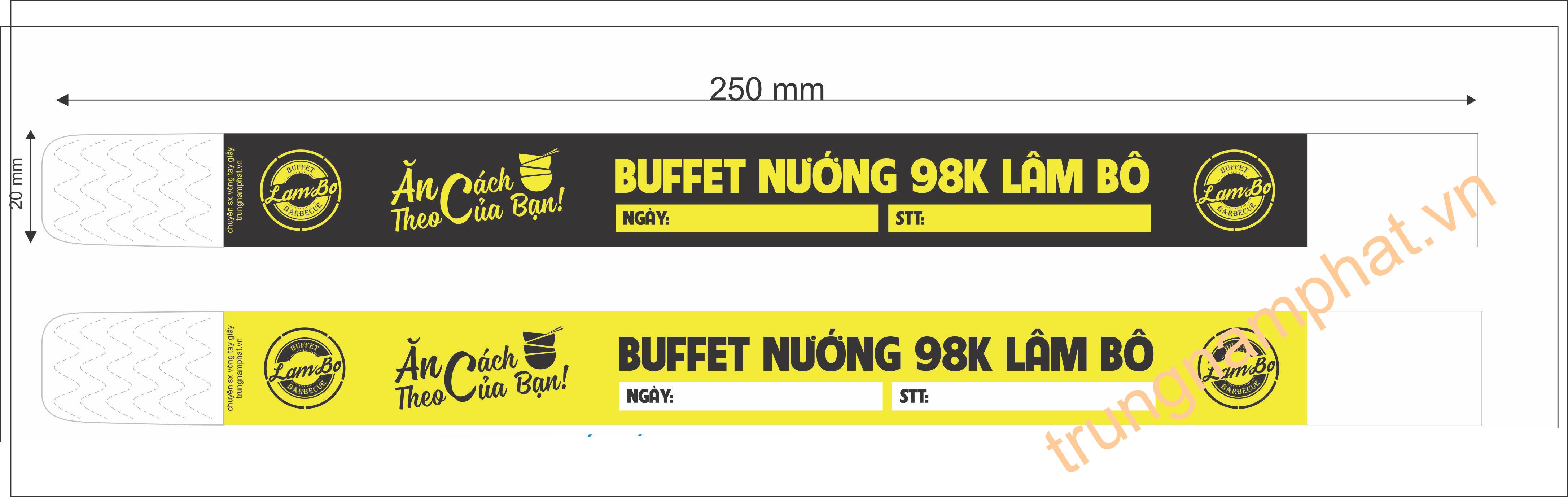 vong-tay-giay-buffet-lam-bo, vòng tay kiểm soát buffet, vòng tay khu vui chơi